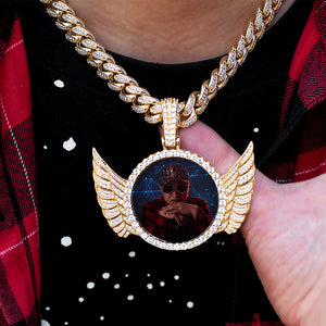 Diamond Custom Picture Pendant with Angel Wings Photo Necklace In White Yellow Rose Gold DRMD Jewelry