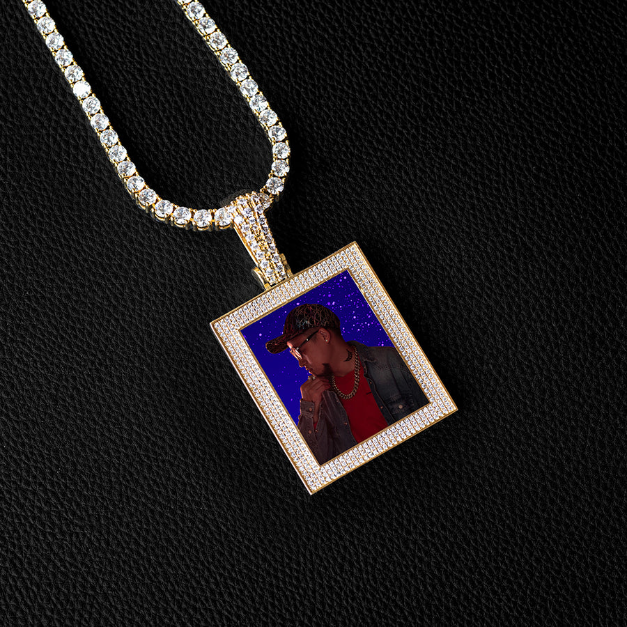 Diamond Custom 3 Layered Rectangle Photo Picture Necklace In White Yellow Rose Gold DRMD Jewelry