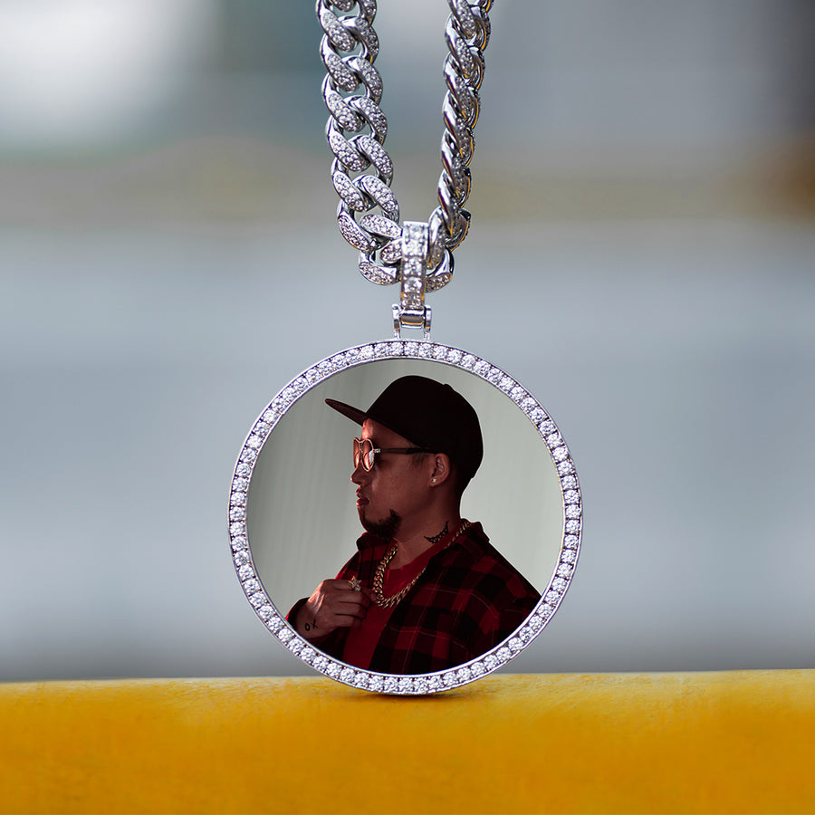 Diamond Custom Large Round Photo Picture Necklace In White Yellow Rose Gold DRMD Jewelry