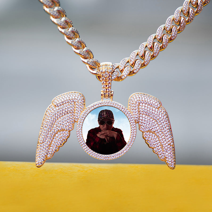 Diamond Custom Large Picture Necklace with Angel Wings Photo Pendant In White Yellow Rose Gold DRMD Jewelry
