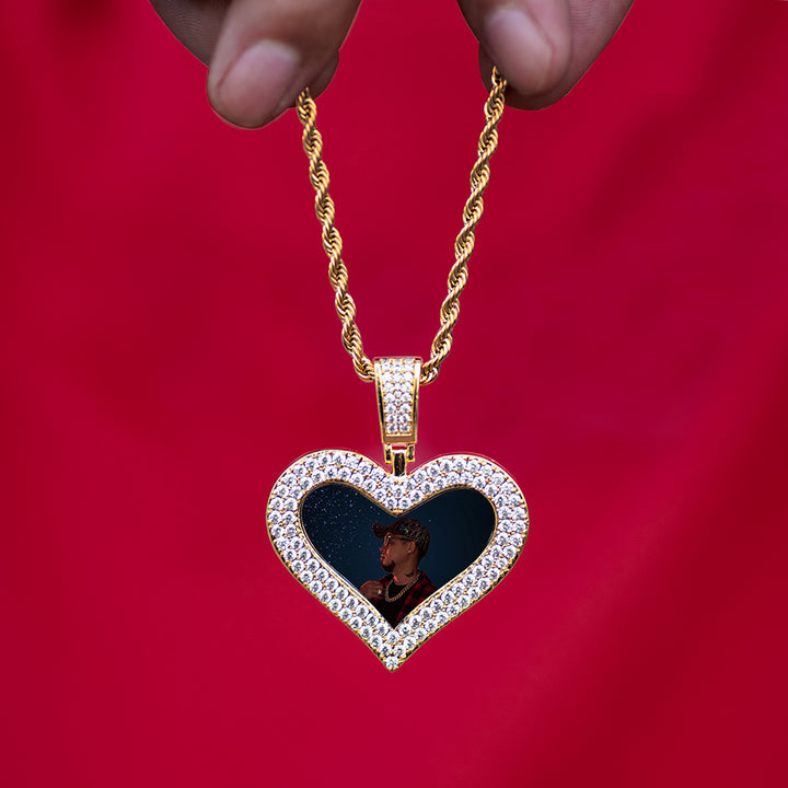 Diamond Custom Heart Picture Photo Necklaces In White Yellow Rose Gold DRMD Jewelry
