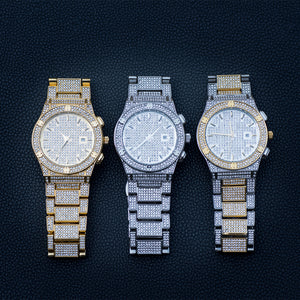 Iced Cut Classic Watch in White/Yellow Gold
