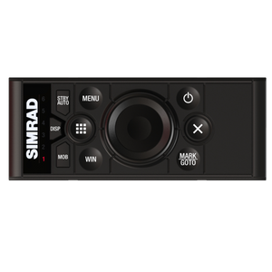 Landscape-orientation keypad and rotary dial controller for Simrad multifunction displays.
