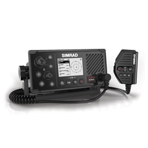 Fixed-mount DSC VHF Radio with integrated AIS transmitter and receiver, external GPS-500, and wireless handset support.