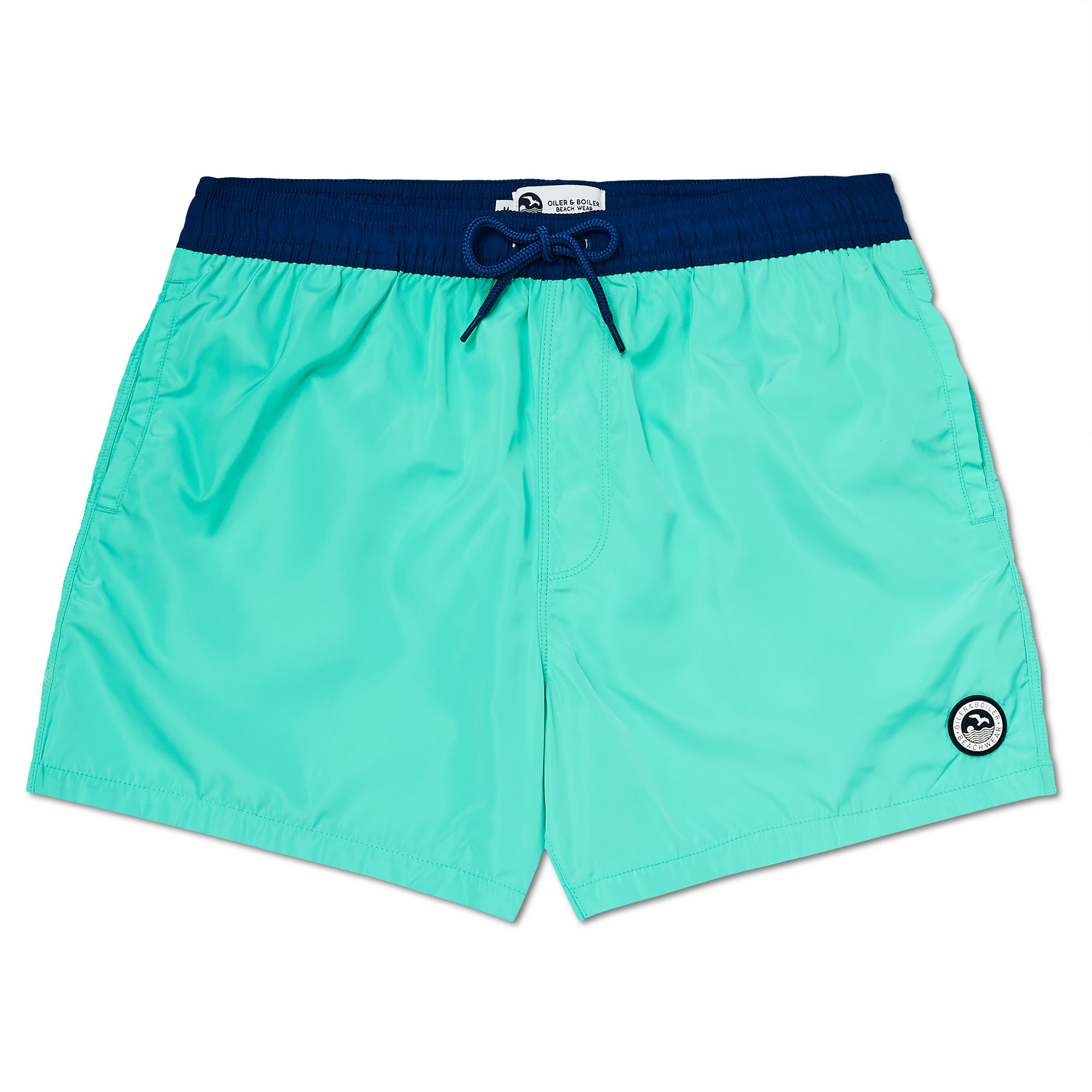 Sea Green & Marine Blue Logo Swim Short, Regular Length