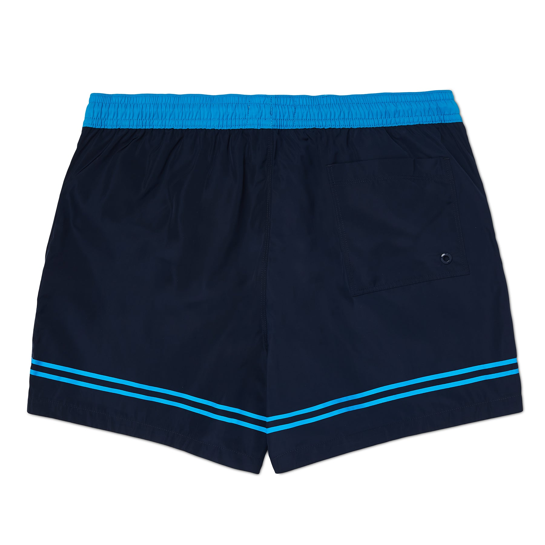 Navy and Aqua Blue Leg Stripe & Logo Swim Short, Regular Length