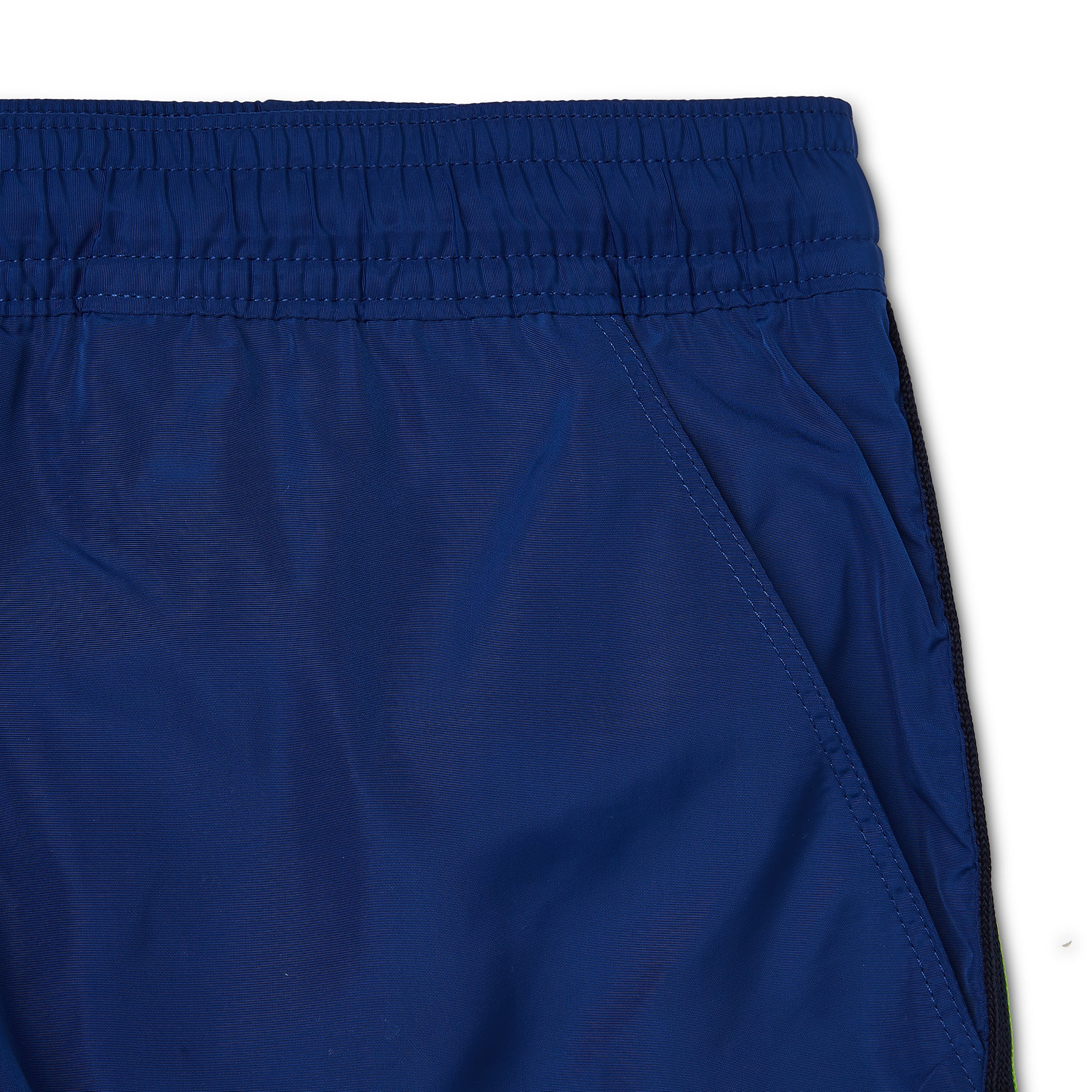 Marine Blue Side Stripe Logo Swim Short, Regular Length