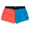 Orange & Aqua Blue Contrast Swim Short, Shorter Length