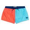 Orange & Aquatic Blue Contrast Swim Short, Shorter Length