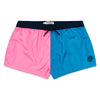 Pink & Aqua Blue Contrast Swim Short, Shorter Length