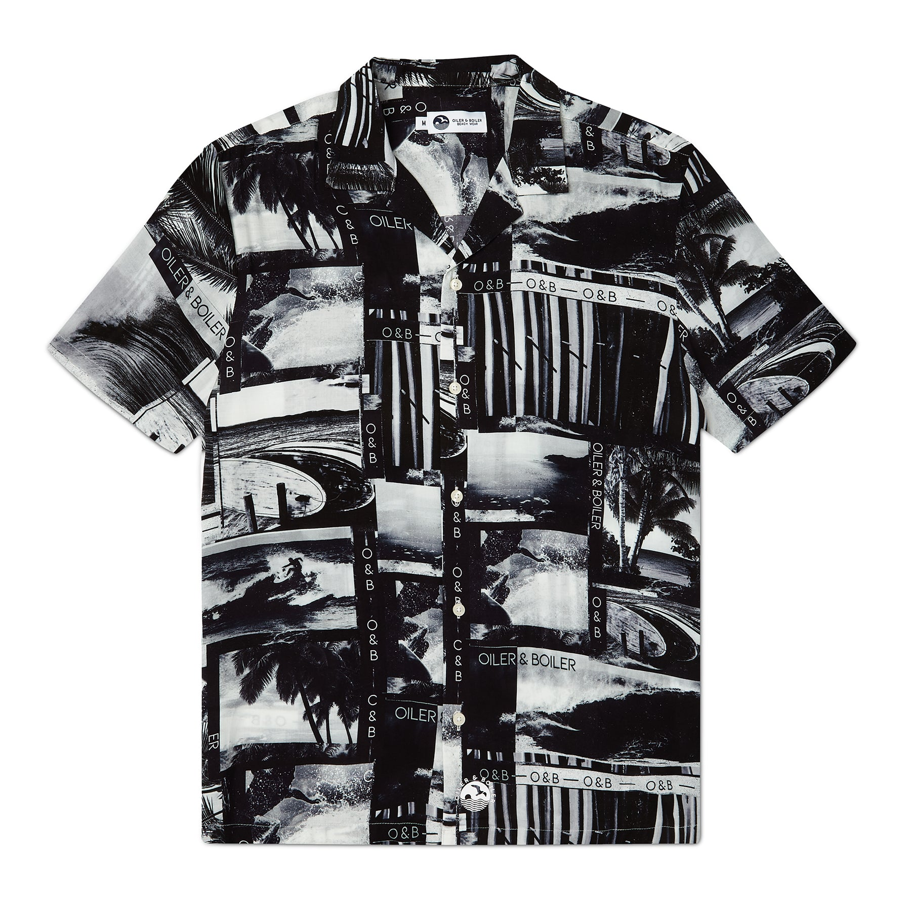 Photographic Palm Surf Pattern Print, Resort Shirt