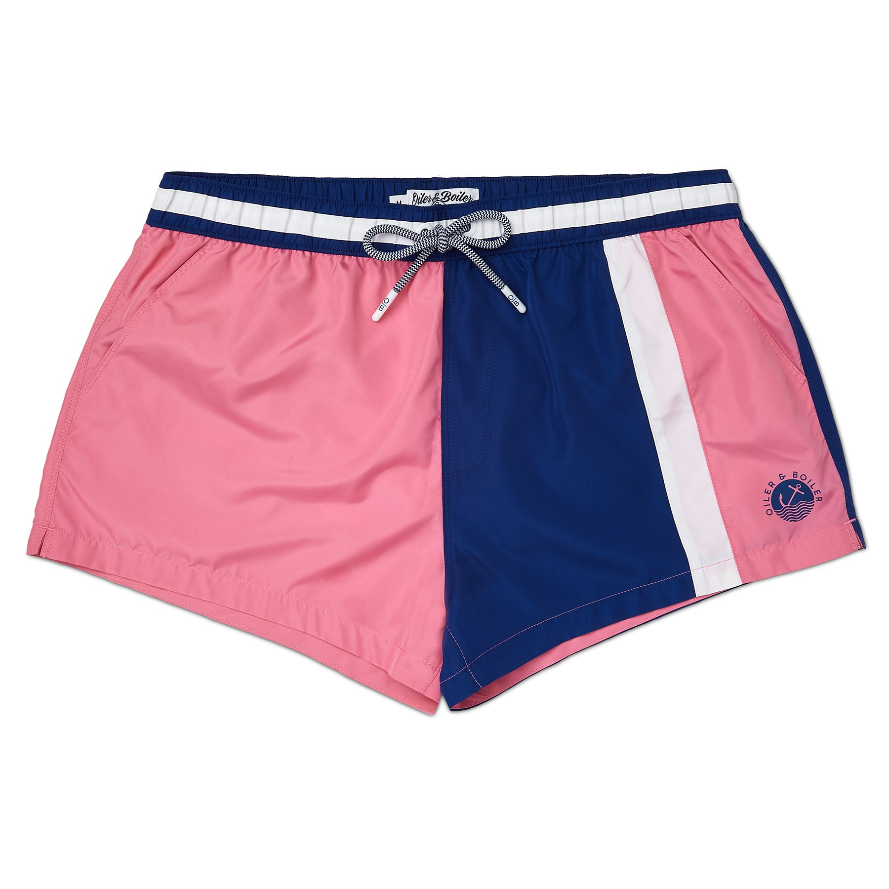 Pink Colour Block Swim Short, Shorter Length