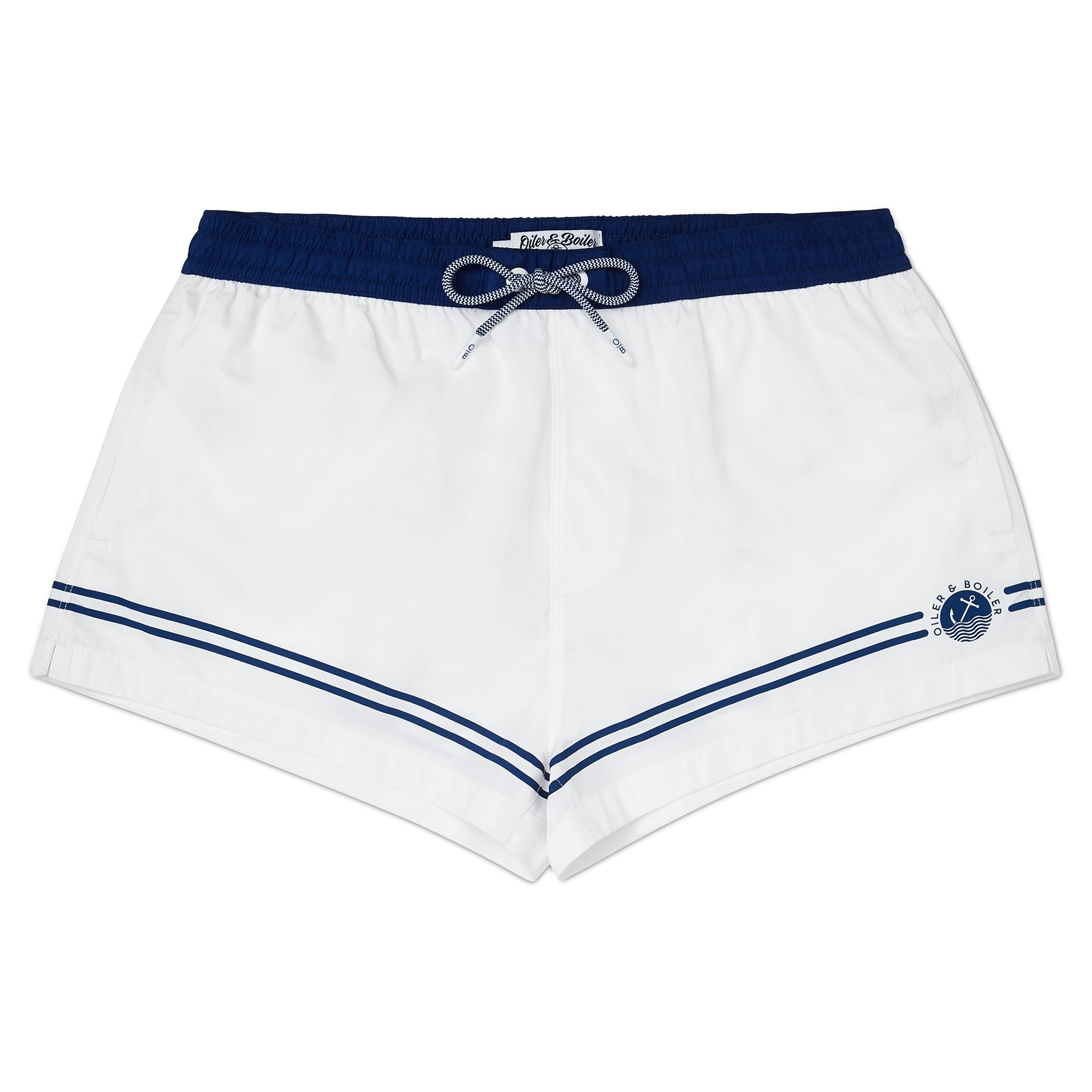 White and Marine Blue Leg Stripe & Logo Swim Short, Shorter Length