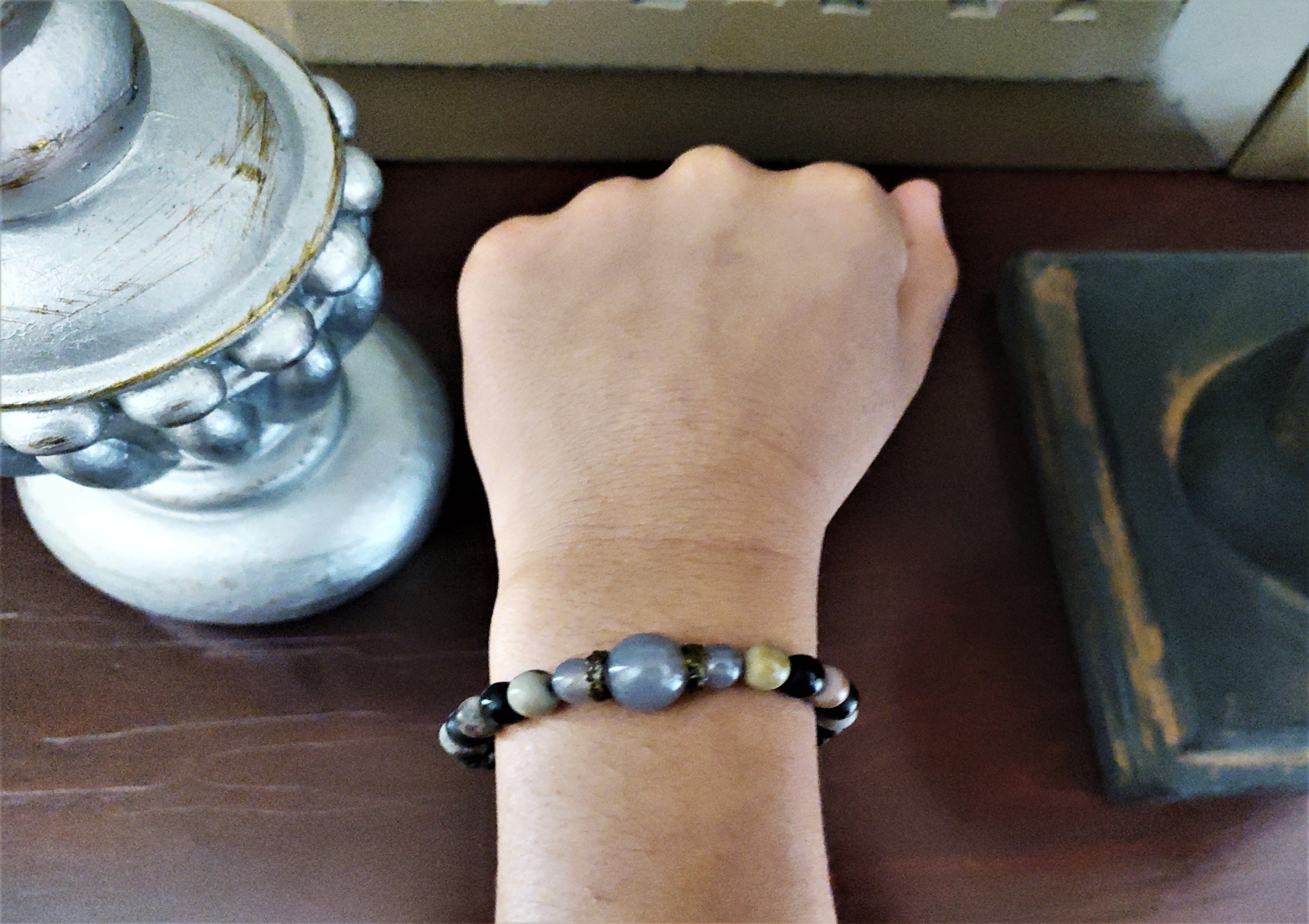 AGATE, JASPER, AND BLACK LAVA STONE BRACELET TV200