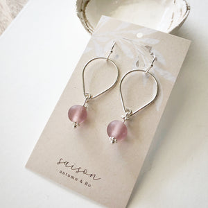 Open Teardrop Earrings - Pale Mauve