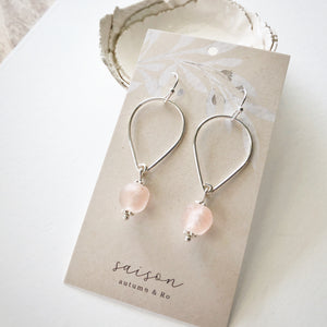 Pale Pink Open Teardrop Earrings