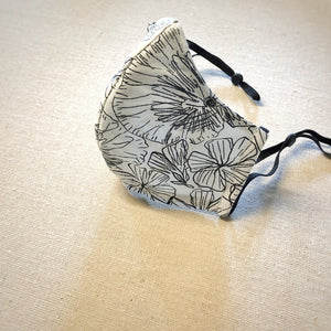 Face Mask - Floral Silk, Black & White