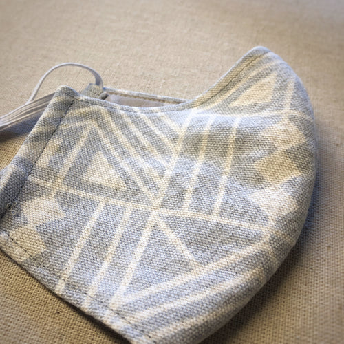 Mask (Med) - Grey Geometric Linen