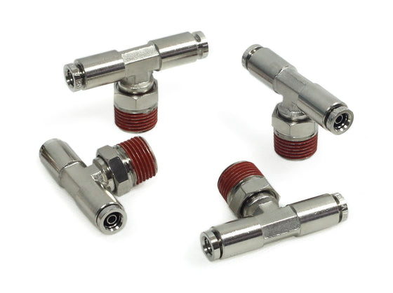 "3/8"" NPT(M) 1/4"" to 1/4"" Swivel T-Fitting (4 pcs) DOT Approved"