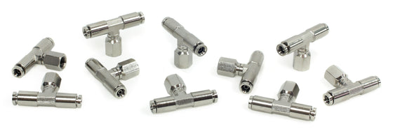 "1/8"" NPT(F) 1/4"" to 1/4"" Swivel T-Fitting (10 pcs) DOT Approved"