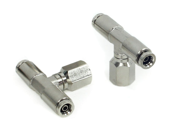 "1/8"" NPT(F) 1/4"" to 1/4"" Swivel T-Fitting (2 pcs) DOT Approved"