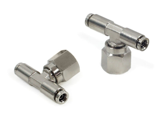 "3/8"" NPT(F) 1/4"" to 1/4"" Swivel T-Fitting (2 pcs) DOT Approved"