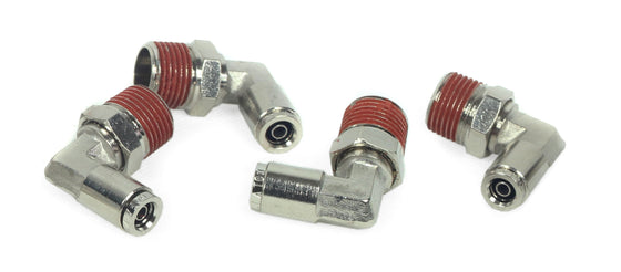 "3/8"" NPT(M) to 1/4"" Airline 90 Degree Swivel Elbow Fitting (4 pcs) DOT Approved"