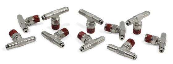 "1/4"" NPT(M) 1/8"" to 1/8"" Swivel T-Fitting (10 pcs) DOT Approved"
