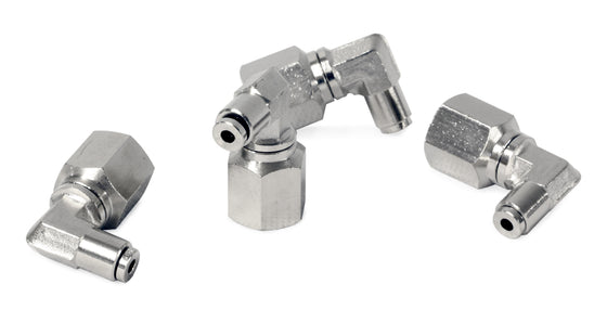 "3/8"" NPT(F) to 1/8"" Airline 90 Degree Swivel Elbow Fitting (4 pcs) DOT Approved"