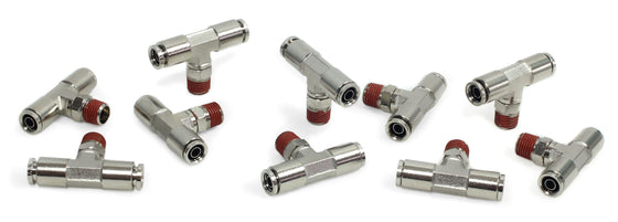 "1/4"" NPT(M) 3/8"" to 3/8"" Swivel T-Fitting (10 pcs) DOT Approved"