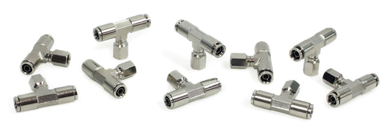 "1/8"" NPT(F) 3/8"" to 3/8"" Swivel T-Fitting (10 pcs) DOT Approved"