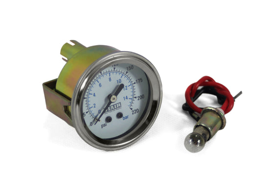 "2"" Single Needle Gauge (White Face, Illuminated, 220 PSI)"