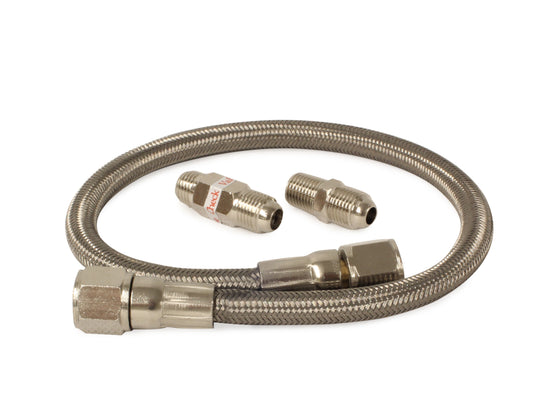 "20"" Stainless Steel Braided PTFE Leader Hose w/ Check Valve (1/4"", JIC & NPT Fittings)"