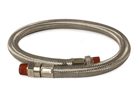 "24"" by 3/8"" S.S. Leader Hose (3/8"" M to 3/8"" M, NPT, Swivel)"