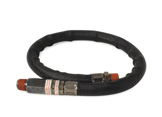 "24"" by 3/8"" S.S. Leader Hose w/ Black Sleeve w/ Check Valve (3/8"" M to 3/8"" M, NPT, Swivel)"