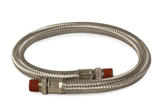 "18"" S.S. Braided Leader Hose (1/8"" M to 1/4"" M, NPT, Swivel)"