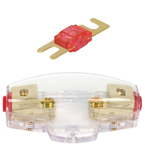 Mini ANL Fuse Holder with 50 Amp Fuse (for 4 or 8 Gauge Wire), includes 2 Mini 50 Amp ANL Fuse.