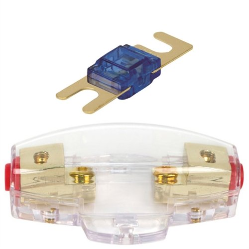Mini ANL Fuse Holder with 80 Amp Fuse (for 4 or 8 Gauge Wire), includes 2 Mini 80 Amp ANL Fuse.