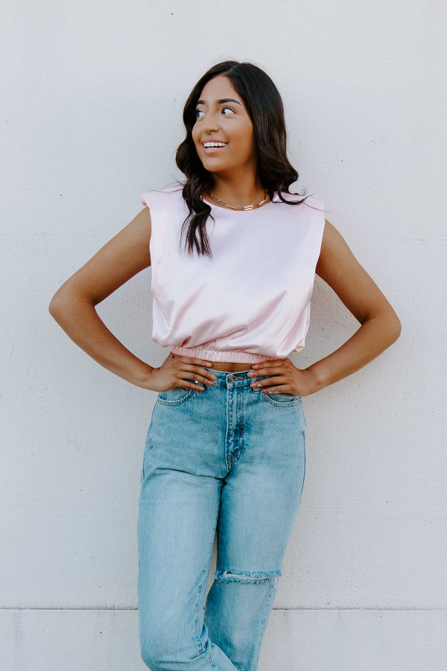 Give 'Em The Cold Shoulder Satin Top