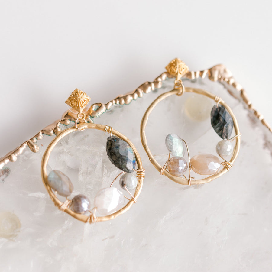 Hoop Multi Stone Earrings