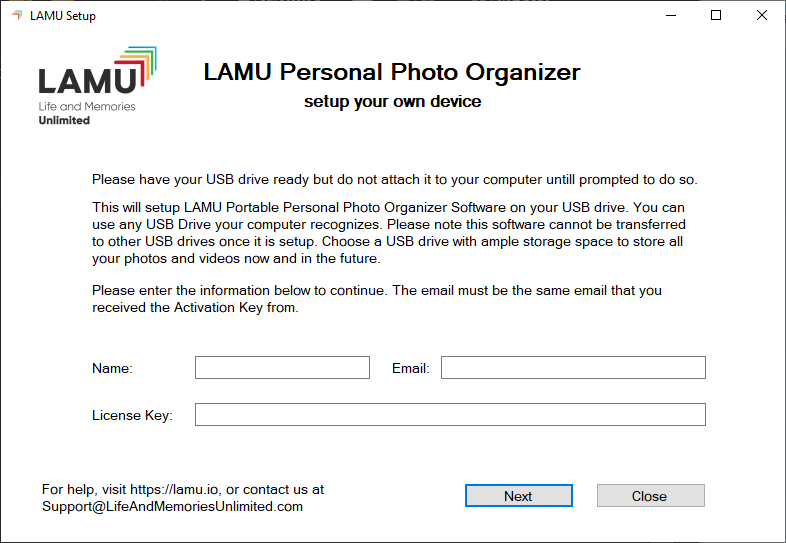 LAMU Device Setup Step 1