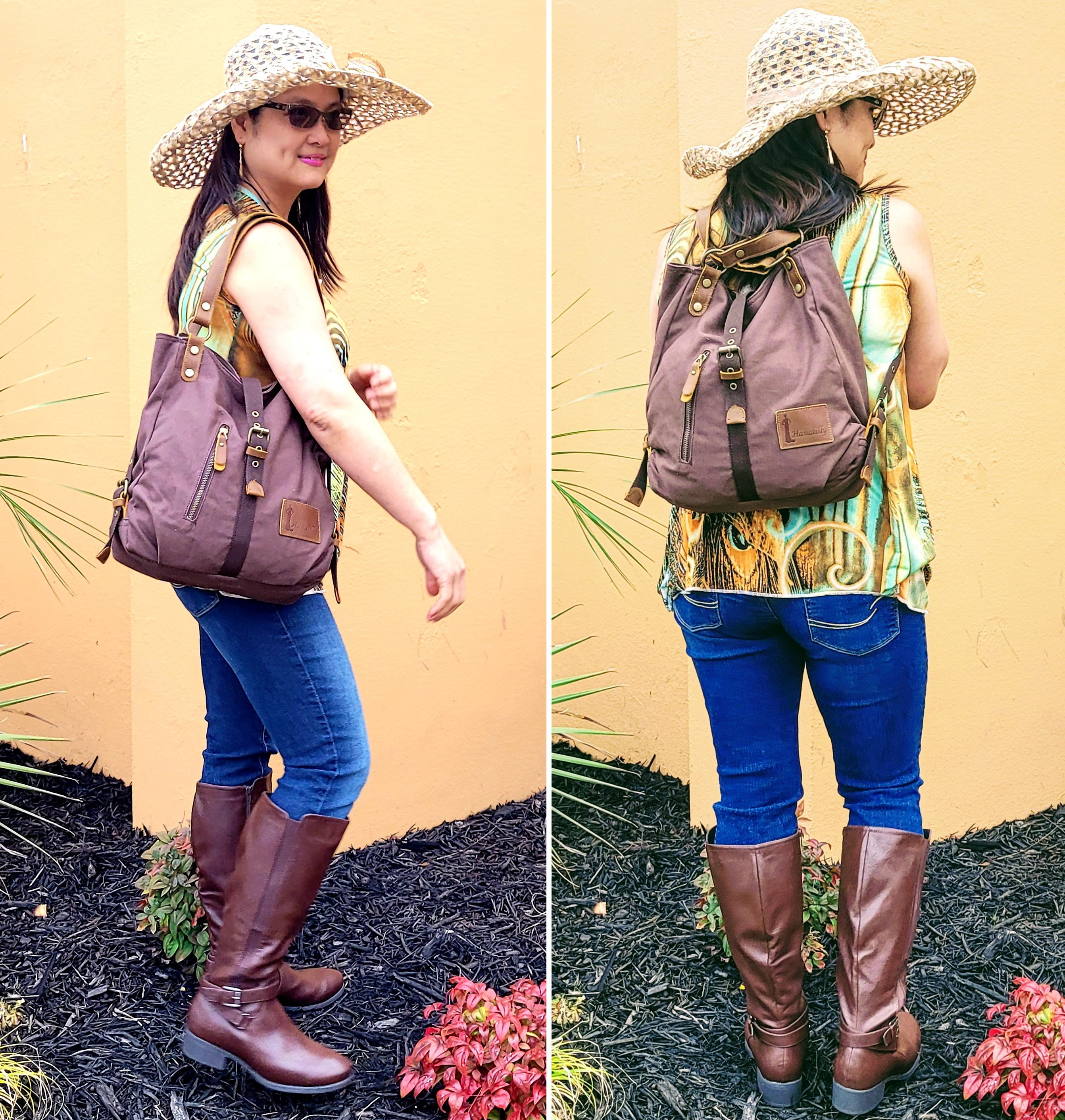 Coffee Color Shoulder Bag and Backpack Purse for women