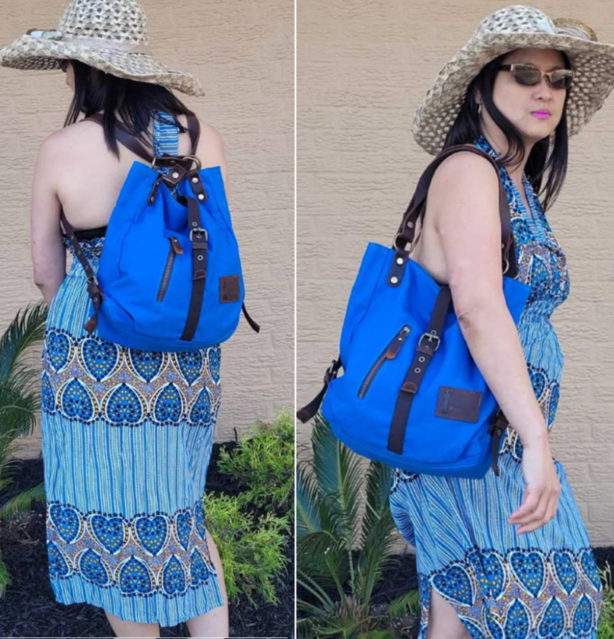Blue Backpack purse for Women