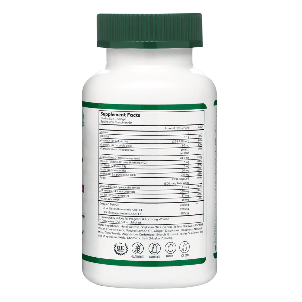 Halal Prenatal + DHA Multivitamin Softgels