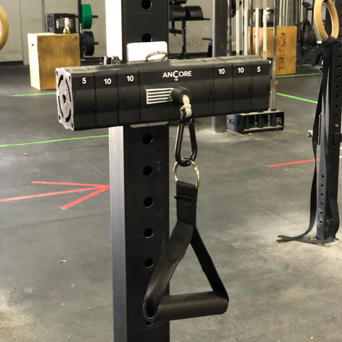 ANCORE trainer on a rack mount at a gym