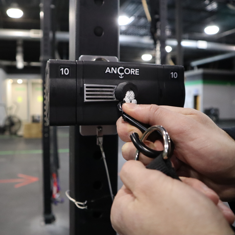 an ancore trainer getting an attachment swapped out