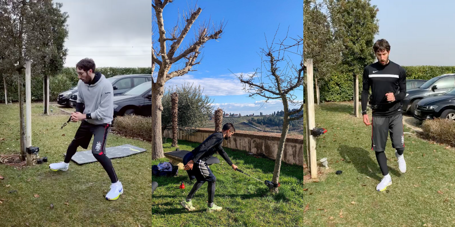 the ancore trainer and rack mount being used on a tree to workout