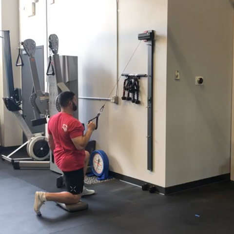 ancore trainer being used for a half kneeling high row in a gym