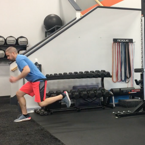 dr. tim difrancesco doing single leg bounds on the ancore trainer