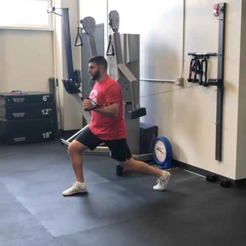 Co-owner of TD Athletes Edge Matt Ibrahim does a split stance one arm press on his ANCORE Trainer